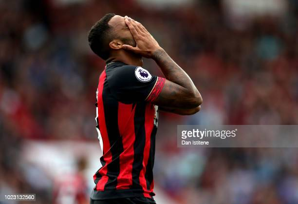 Callum Wilson of AFC Bournemouth reacts during the Premier League match between AFC Bournemouth and Everton FC at Vitality Stadium on August 25 2018...