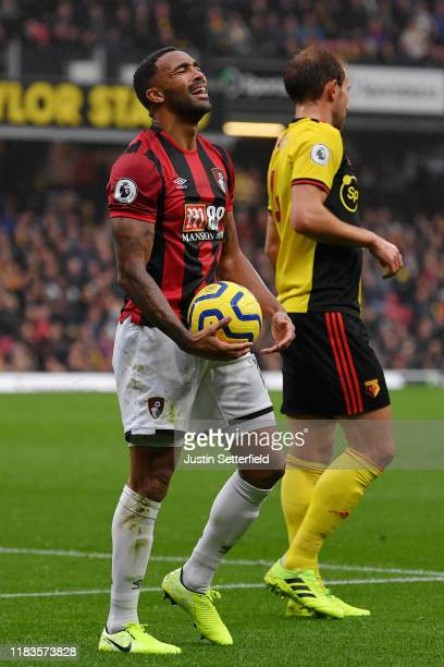Callum Wilson of AFC Bournemouth reacts during the Premier League match between Watford FC and AFC Bournemouth at Vicarage Road on October 26 2019 in...