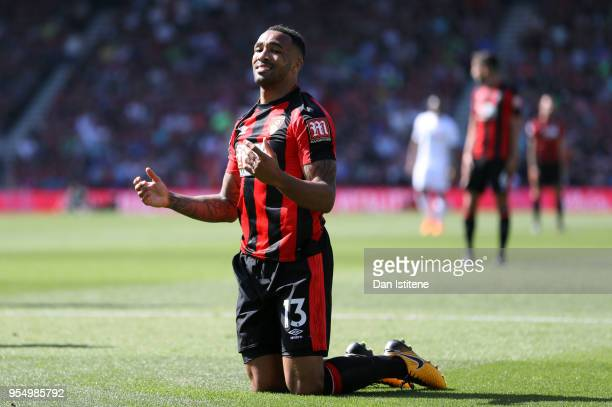 Callum Wilson of AFC Bournemouth reacts during the Premier League match between AFC Bournemouth and Swansea City at Vitality Stadium on May 5 2018 in...