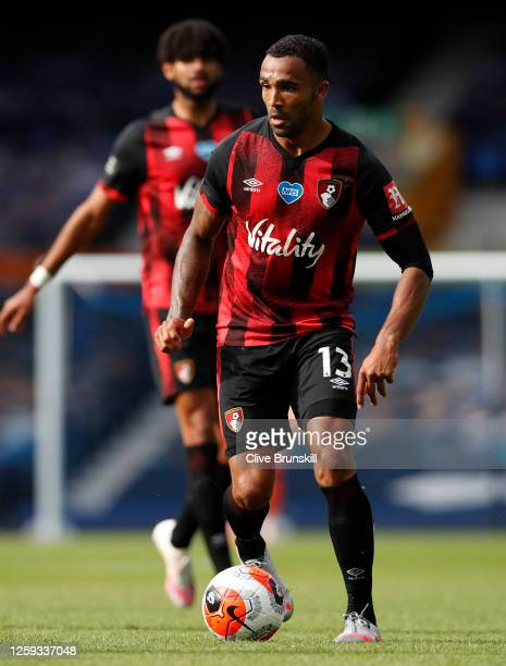 Callum Wilson of AFC Bournemouth runs with the ball during the Premier League match between Everton FC and AFC Bournemouth at Goodison Park on July...