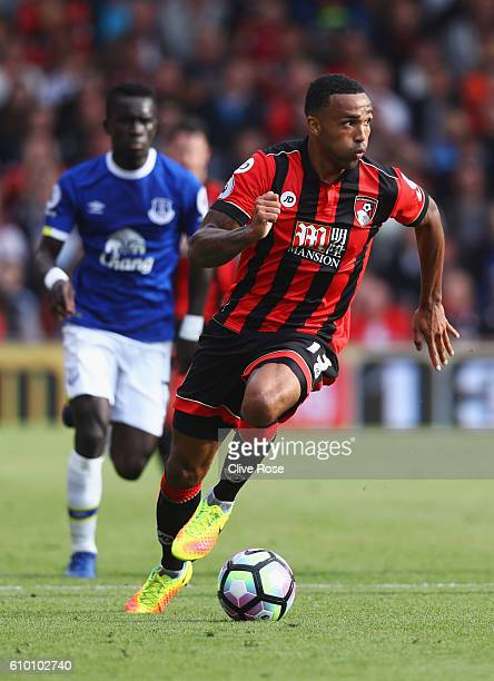 Callum Wilson of AFC Bournemouth runs with the ball during the Premier League match between AFC Bournemouth and Everton at the Vitality Stadium on...