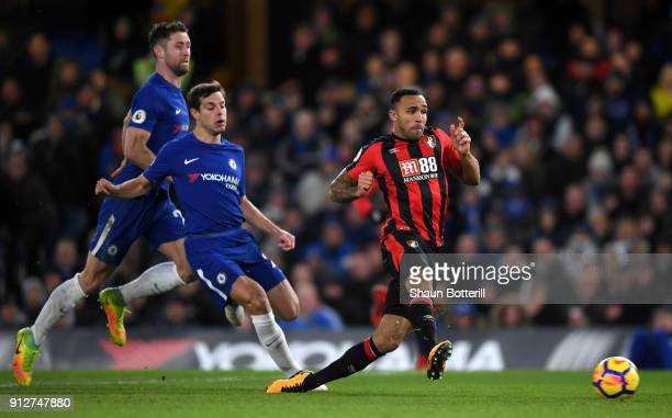 Callum Wilson of AFC Bournemouth scores his sides first goal during the Premier League match between Chelsea and AFC Bournemouth at Stamford Bridge...