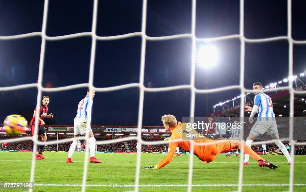 Callum Wilson of AFC Bournemouth scores his side's fourth and his hat trick goal during the Premier League match between AFC Bournemouth and...