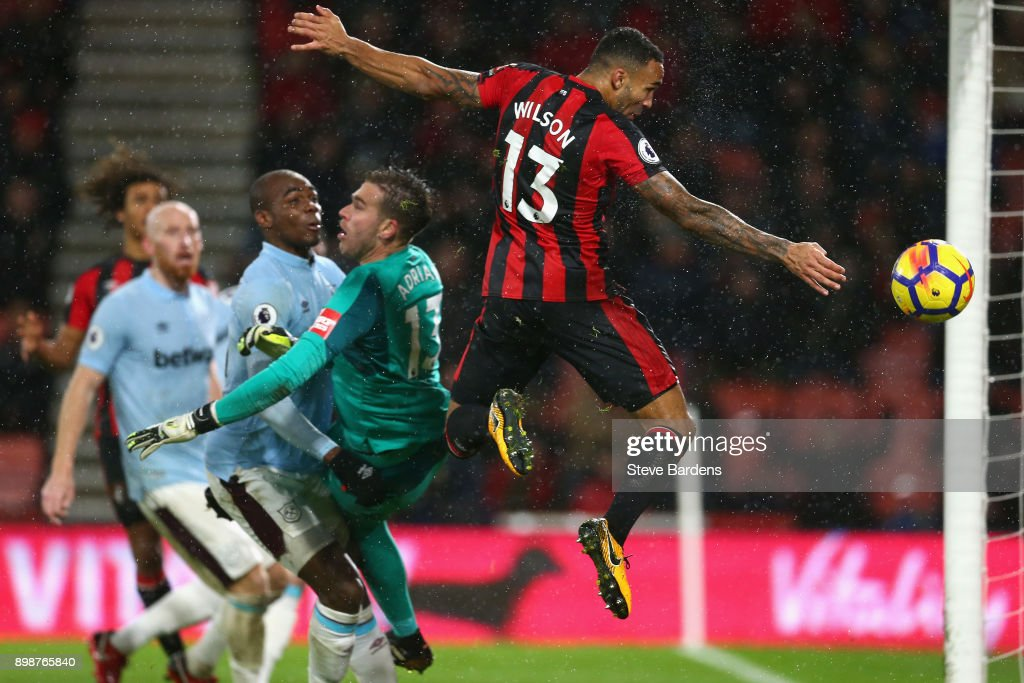 Callum Wilson of AFC Bournemouth scores his sides third goal during the Premier League match between AFC Bournemouth and West Ham United at Vitality Stadium on December 26, 2017 in Bournemouth, England.