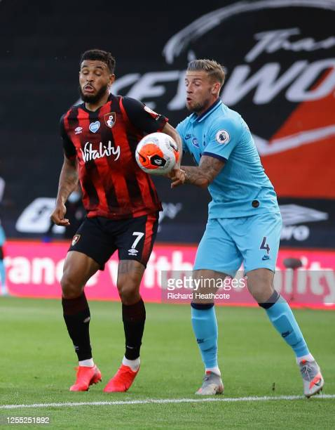 Callum Wilson of AFC Bournemouth scores his team's first goal as Joshua King of AFC Bournemouth handles the ball and the goal is later disallowed...