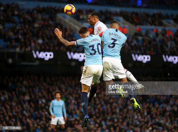 Callum Wilson of AFC Bournemouth scores his team's first goal during the Premier League match between Manchester City and AFC Bournemouth at Etihad...