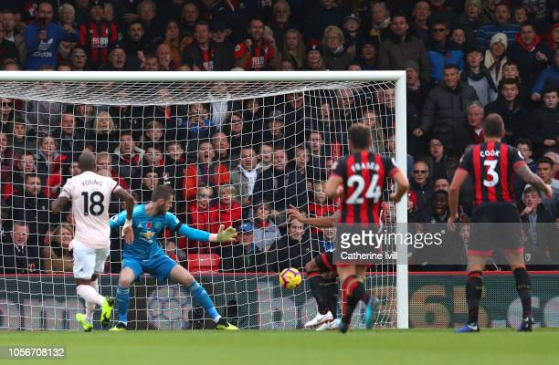 Callum Wilson of AFC Bournemouth scores his team's first goal past David De Gea of Manchester United during the Premier League match between AFC...