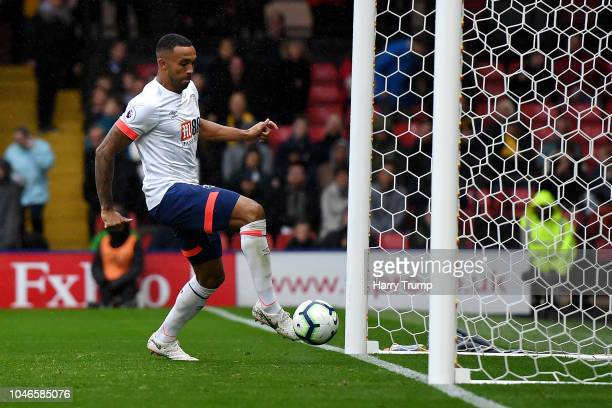 Callum Wilson of AFC Bournemouth scores his team's fourth goal during the Premier League match between Watford FC and AFC Bournemouth at Vicarage...