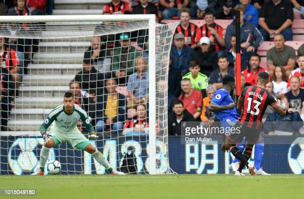 Callum Wilson of AFC Bournemouth scores his team's second goal during the Premier League match between AFC Bournemouth and Cardiff City at Vitality...