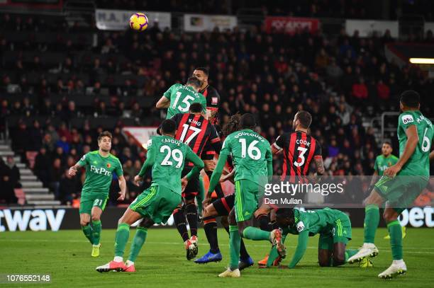Callum Wilson of AFC Bournemouth scores his team's second goal during the Premier League match between AFC Bournemouth and Watford FC at Vitality...