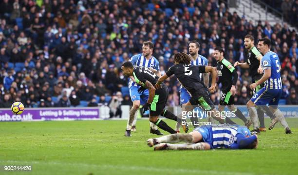 Callum Wilson of AFC Bournemouth scores his team's second goal during the Premier League match between Brighton and Hove Albion and AFC Bournemouth...