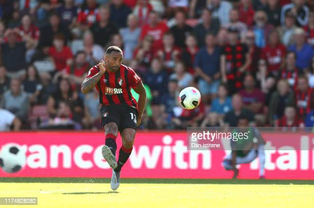 Callum Wilson of AFC Bournemouth scores his team's third goal during the Premier League match between AFC Bournemouth and Everton FC at Vitality...
