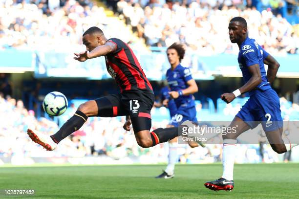 Callum Wilson of AFC Bournemouth shoots and misses during the Premier League match between Chelsea FC and AFC Bournemouth at Stamford Bridge on...