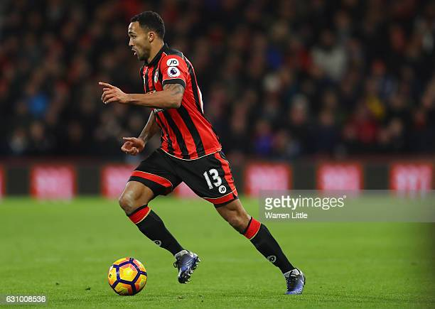 Callum Wilson of Bournemouth AFC in action during the Premier League match between AFC Bournemouth and Arsenal at Vitality Stadium on January 3 2017...