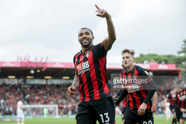 Callum Wilson of Bournemouth after he scores a goal to make it 10 during the Premier League match between AFC Bournemouth and Manchester United at...