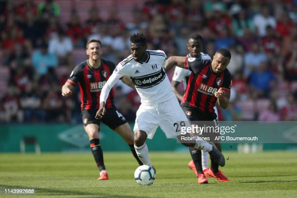 Callum Wilson of Bournemouth and AndreFrank Zambo Anguissa of Fulham during the Premier League match between AFC Bournemouth and Fulham FC at...