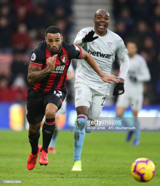 Callum Wilson of Bournemouth and Angelo Ogbonna of West Ham United during the Premier League match between AFC Bournemouth and West Ham United at...