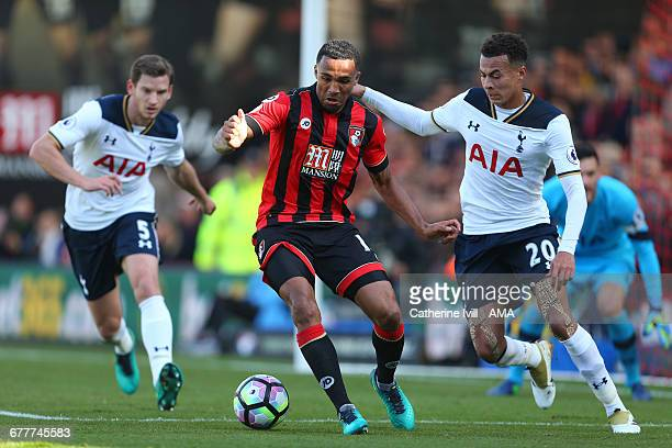 Callum Wilson of Bournemouth and Dele Alli of Tottenham Hotspur during the Premier League match between AFC Bournemouth and Tottenham Hotspur at...
