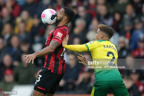 Callum Wilson of Bournemouth and Max Aarons of Norwich City during the Premier League match between AFC Bournemouth and Norwich City at Vitality...