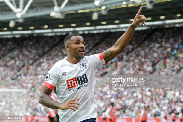 Callum Wilson of Bournemouth celebrates after he makes it 11 during the Premier League match between West Ham United and AFC Bournemouth at London...