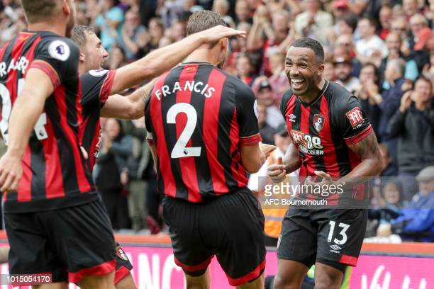 Callum Wilson of Bournemouth celebrates after he makes it 20 during the Premier League match between AFC Bournemouth and Cardiff City at Vitality...