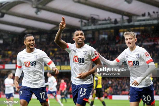 Callum Wilson of Bournemouth celebrates after he scores a goal to make it 40 with Joshua King and David Brooks during the Premier League match...