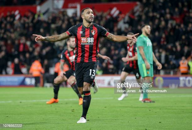 Callum Wilson of Bournemouth celebrates after he scores a goal to make it 2-2 during the Premier League match between AFC Bournemouth and Watford FC...