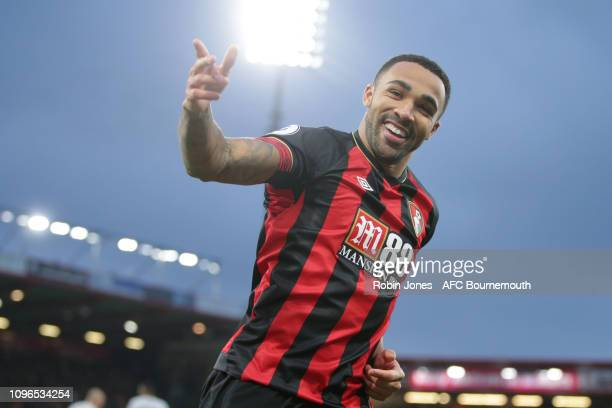 Callum Wilson of Bournemouth celebrates after he scores a goal to make it 1-0 during the Premier League match between AFC Bournemouth and West Ham...