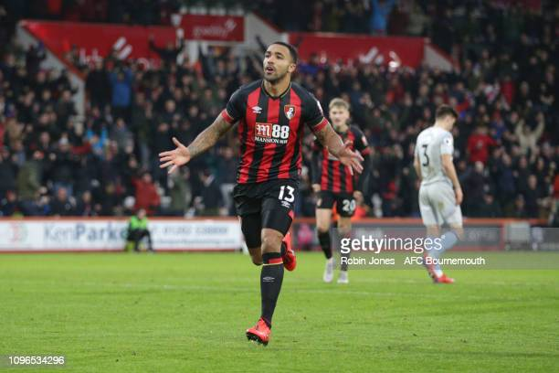 Callum Wilson of Bournemouth celebrates after he scores a goal to make it 10 during the Premier League match between AFC Bournemouth and West Ham...