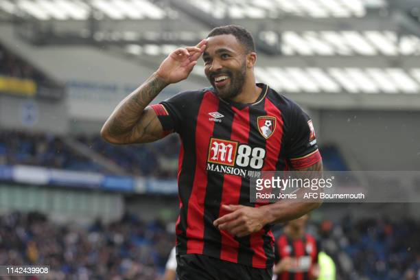 Callum Wilson of Bournemouth celebrates after he scores a goal to make it 40 during the Premier League match between Brighton Hove Albion and AFC...