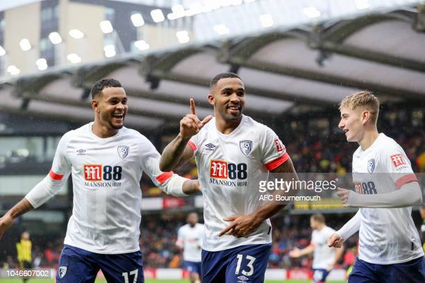 Callum Wilson of Bournemouth celebrates after scoring a goal to make it 40 during the Premier League match between Watford FC and AFC Bournemouth at...