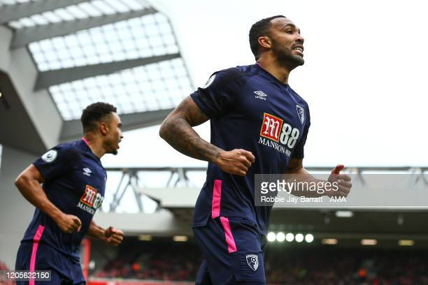 Callum Wilson of Bournemouth celebrates after scoring a goal to make it 0-1 during the Premier League match between Liverpool FC and AFC Bournemouth...