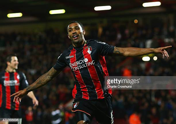 Callum Wilson of Bournemouth celebrates as he scores their third goal during the Sky Bet Championship match between AFC Bournemouth and Bolton...
