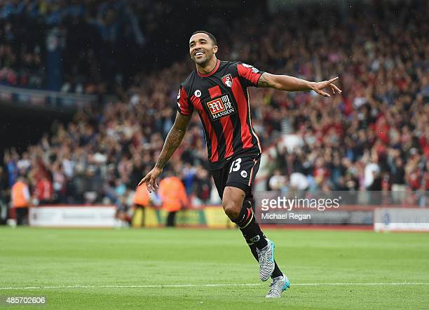 Callum Wilson of Bournemouth celebrates scoring his team's first goal during the Barclays Premier League match between AFC Bournemouth and Leicester...