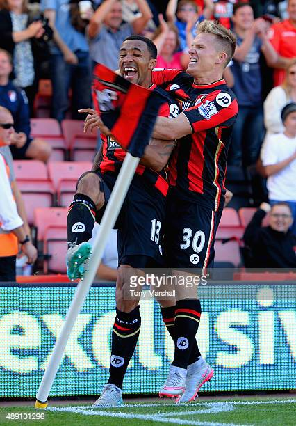 Callum Wilson of Bournemouth celebrates scoring his team's first goal with his team mate Matt Ritchie during the Barclays Premier League match...
