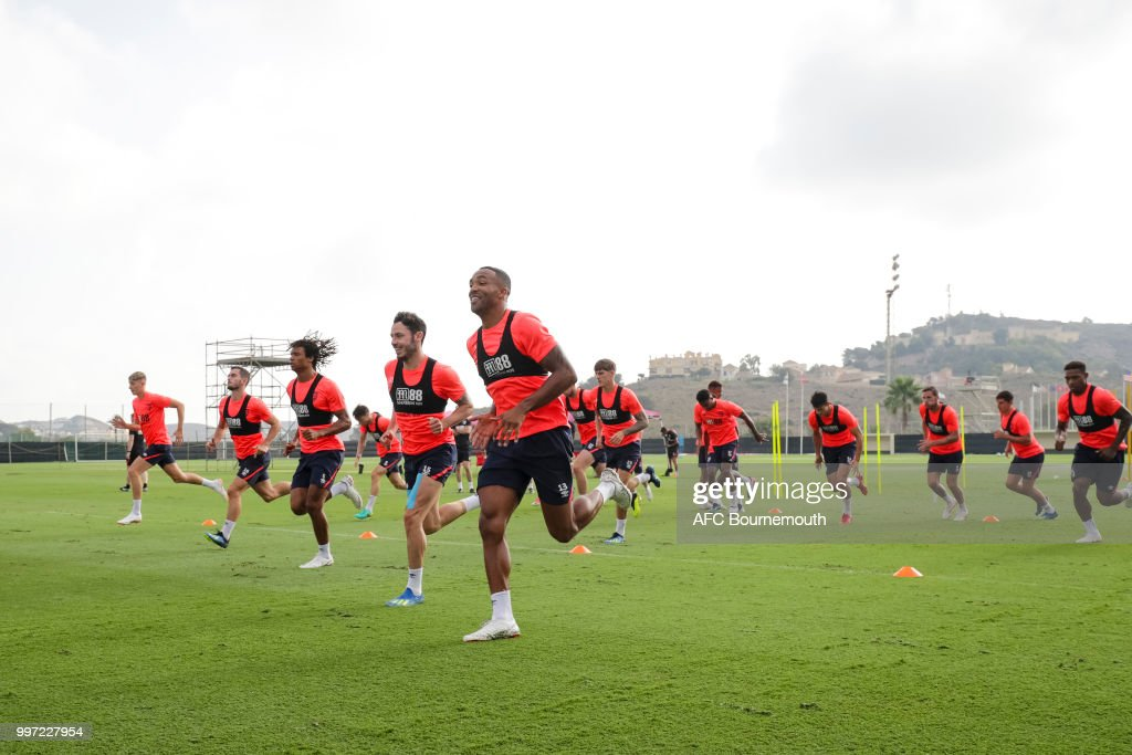 Callum Wilson of Bournemouth during training session at the clubs pre-season training camp at La Manga, Spain on July 12, 2018 in La Manga, Spain.
