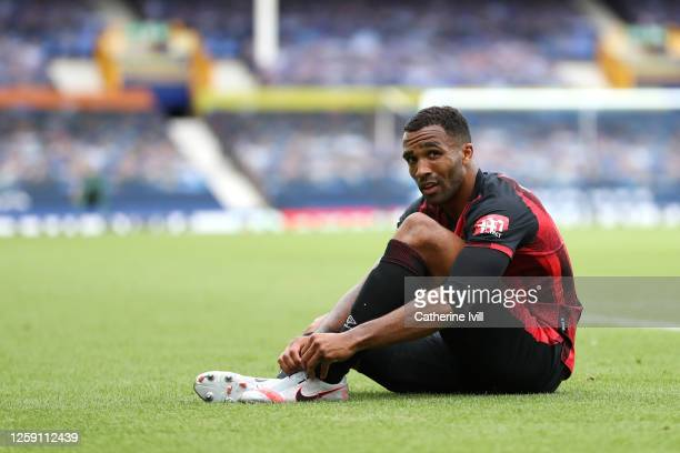 Callum Wilson of Bournemouth looks on during the Premier League match between Everton FC and AFC Bournemouth at Goodison Park on July 26, 2020 in...