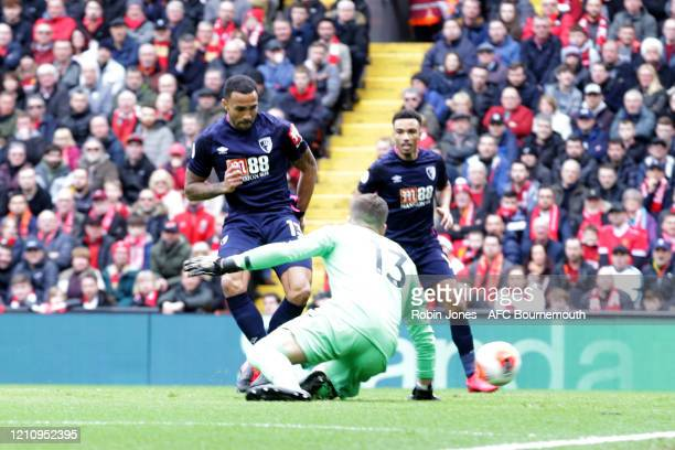 Callum Wilson of Bournemouth scores a goal to make it 10 during the Premier League match between Liverpool FC and AFC Bournemouth at Anfield on March...