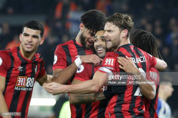 Callum Wilson of Bournemouth scores a goal to make it 20 and is congratulated by teammates during the Premier League match between AFC Bournemouth...