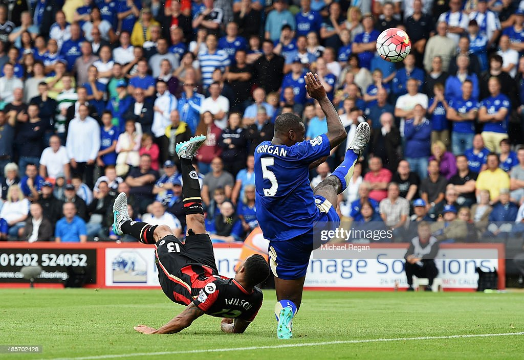 Callum Wilson of Bournemouth scores his team's first goal with a bicycle kick during the Barclays Premier League match between A.F.C. Bournemouth and Leicester City at Vitality Stadium on August 29, 2015 in Bournemouth, England.