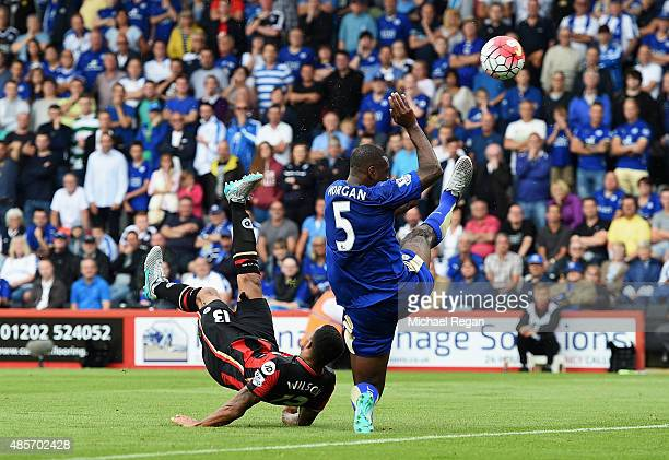 Callum Wilson of Bournemouth scores his team's first goal with a bicycle kick during the Barclays Premier League match between AFC Bournemouth and...