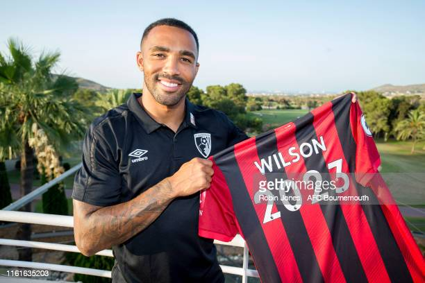 Callum Wilson of Bournemouth, who has signed a new four year contract with the club till 2023, poses on July 10, 2019 in La Manga, Spain.