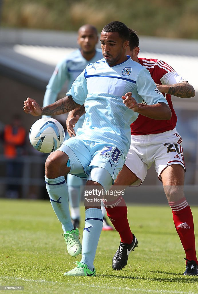 Callum Wilson of Coventry City looks to control the ball during the Sky Bet League One match between Coventry City and Bristol City at Sixfields Stadium on August 11, 2013 in Northampton, England.