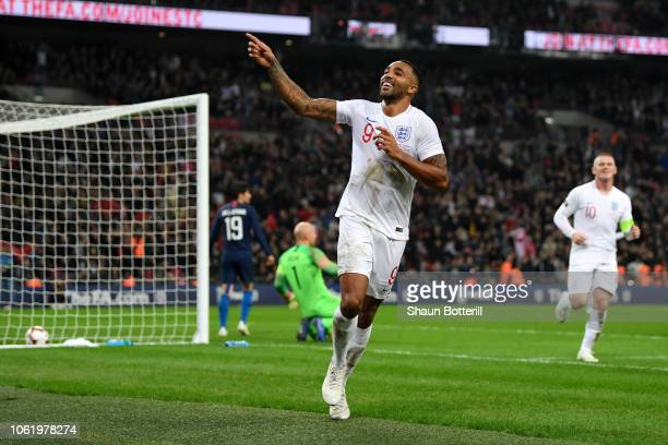 Callum Wilson of England celebrates after scoring his team's third goal during the International Friendly match between England and United States at...