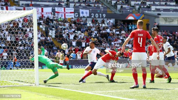 Callum Wilson of England scores a goal which is later disallowed following a VAR check during the UEFA Nations League Third Place Playoff match...