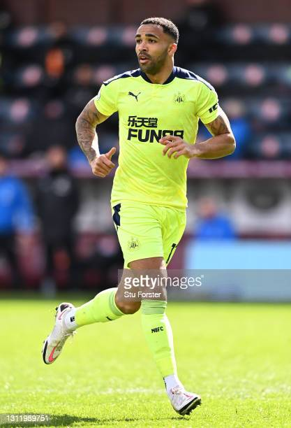 Callum Wilson of Newcastle in action during the Premier League match between Burnley and Newcastle United at Turf Moor on April 11, 2021 in Burnley,...