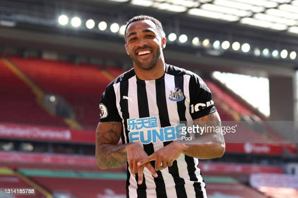 Callum Wilson of Newcastle United celebrates after scoring a goal which was later disallowed due to a handball during the Premier League match...