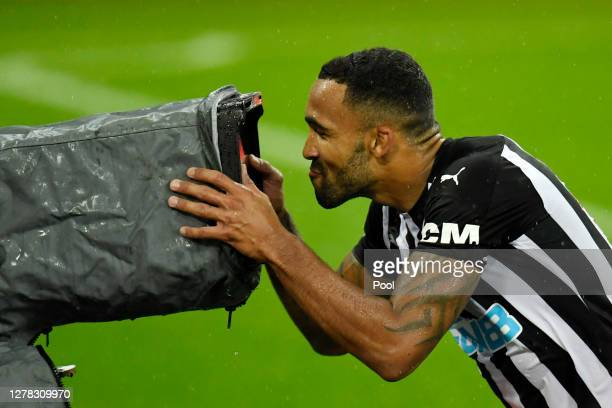 Callum Wilson of Newcastle United celebrates after scoring his team's third goal during the Premier League match between Newcastle United and Burnley...