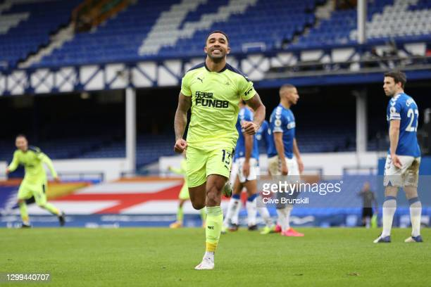 Callum Wilson of Newcastle United celebrates after scoring his team's first goal during the Premier League match between Everton and Newcastle United...