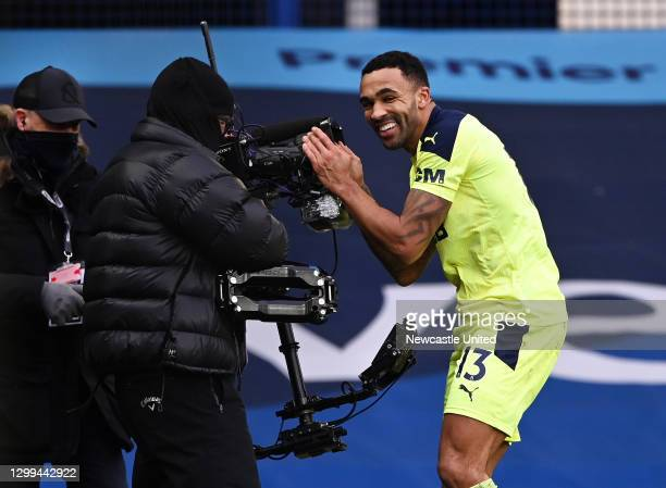 Callum Wilson of Newcastle United celebrates after scoring his team's second goal during the Premier League match between Everton and Newcastle...